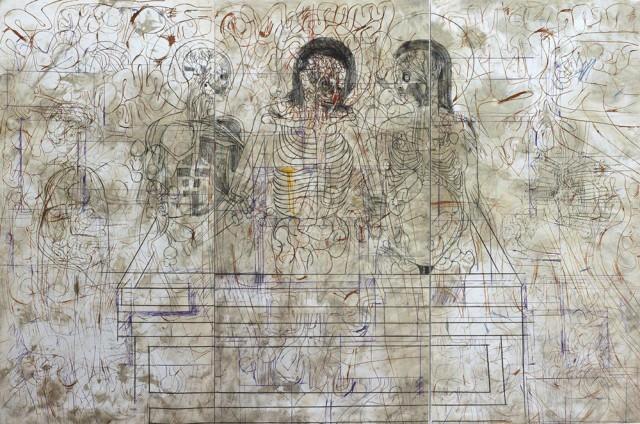 Hermann-Nitsch-Deposizione-nel-sepolcro-serigrafia-su-relitto-2007-Courtesy-Boxart-Verona-640x424